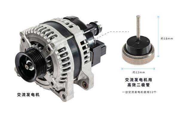 电装量产搭载新型高效二极管交流发电机