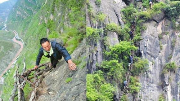 """藤索,木梯,钢梯 """"悬崖村""""绝壁天梯的前世今生"""