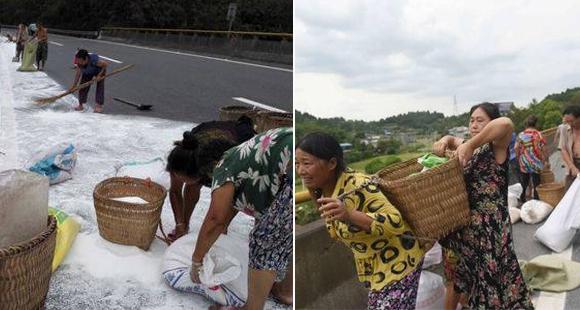 村民顺走高速路上工业盐 被劝勿食不听:这就是盐