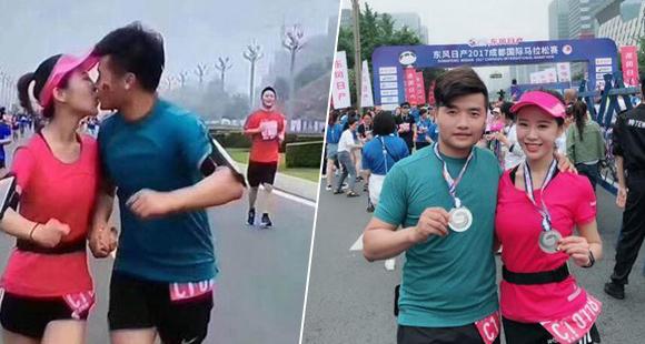 情侣参加马拉松边跑边热吻 网友:心疼后面的小伙