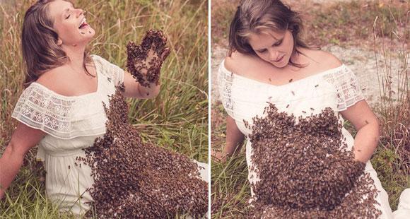 孕妇与2万只蜜蜂拍孕照 结果悲剧了!