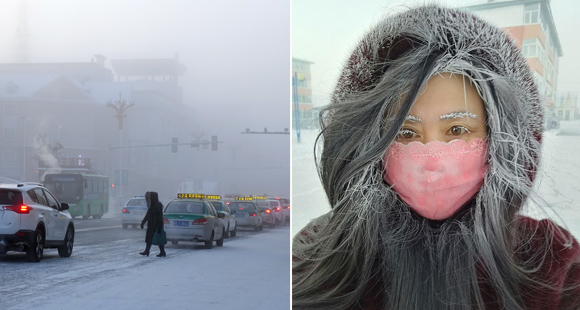 """呼伦贝尔最低零下46.6度 行人变""""白发魔女"""""""