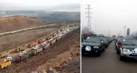 土豪用数百车为母送葬 路上齐鸣笛
