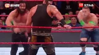 WWE伊莱亚斯捡漏压制塞纳赢得三重威胁赛 布朗赛后横扫擂台
