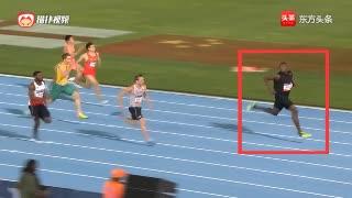 最后50米博尔特开始边跑边回头还减速,结果还能赢日本选手7米