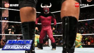 WWE 小公牛vs金德·马哈尔,台下打成一片混乱!