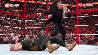 WWE地狱牢笼大赛,布洛克闯进铁笼暴揍罗曼大帝与黑山羊!