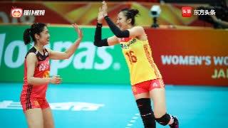 中美女排对决 丁霞单手调整球 中国女排快攻打得坚决!