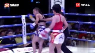 拳击擂台上女拳手玩命互拼也是蛮吓人的,鄂美蝶KO拉扎特