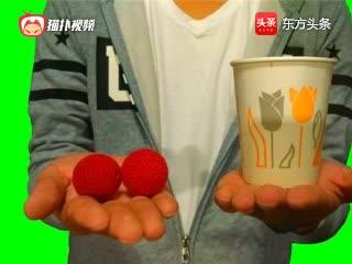 魔术教学,小球隔空穿透杯子,骗过很多人的手法魔术!