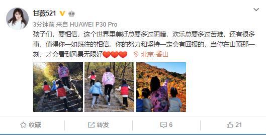 甘薇曝与贾跃亭离婚后微博发声:努力和坚持一定会有回报
