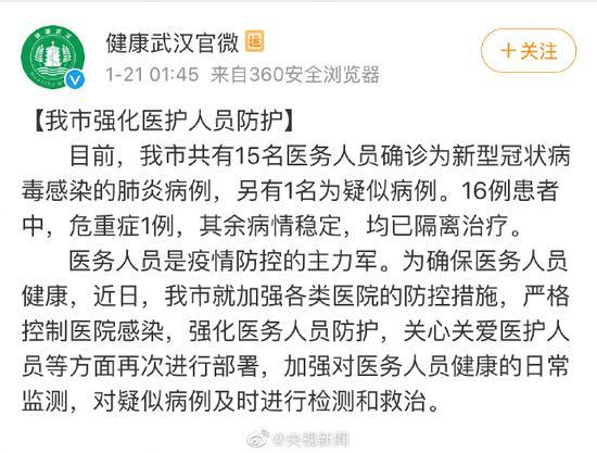 武汉市卫健委:两天新增136例 15名医务人员感染新型冠状病毒